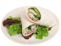 Chicken Caesar Wrap Sandwich Isolated Stock Photos