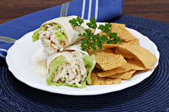 Chicken Caesar Wraps with tortilla chips Stock Photography