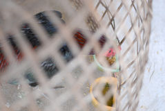 Chicken in cage waiting for food in farm Royalty Free Stock Photo