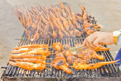 Chicken calves and chicken wings, grilled Stock Image