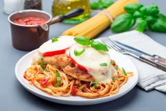 Chicken caprese with tomato and mozzarella cheese, served with linguine, tomato sauce and basil, horizontal. Chicken caprese with tomato and mozzarella cheese royalty free stock photography