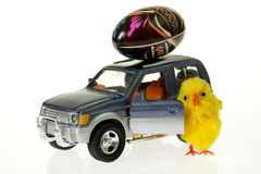 Chicken at car with Easter egg on the roof. Chicken at toy car with Easter egg on the roof Stock Photo