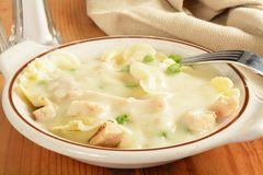 Chicken Carbonara and Farfalle Stock Photography