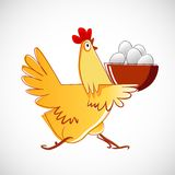 Chicken carries a bowl with the eggs Stock Photography