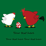 Chicken cartoon card. With text underneath Stock Photography