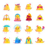 Chicken Cartoon Character Icons Big Set. Funny chicken animation cartoon character icons big set  with crying dead love happy surprised mood isolated vector Stock Photography