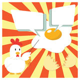 Chicken Cartoon Character Presenting With Fried Egg. Cute Chicken Cartoon Character Presenting With Fried Egg and Speech Bubble for insert Text Royalty Free Stock Photography