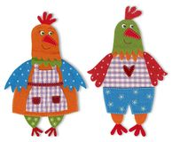 Chicken, cartoon characters. Colorful felt and wool quiltting Stock Photo