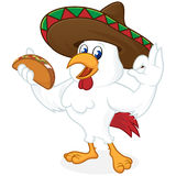 Chicken cartoon holding taco and wearing sombrero. Chicken cartoon holding nacho and wearing sombrero isolated in white background stock illustration