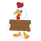Chicken cartoon holding wooden plank. Isolated in white background Stock Photos