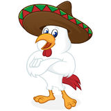 Chicken cartoon wearing sombrero and folding hands. Isolated in white background royalty free illustration