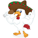 Chicken cartoon wearing sombrero and holding fried chicken. Isolated in white background royalty free illustration