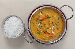 Chicken cashew curry from above Stock Photo