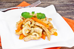 Chicken with Cashew Nuts and Sweet Paprika Grilled. Asian, Thai Royalty Free Stock Images