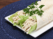 Chicken Cassar wraps with shredded chicken. Royalty Free Stock Images
