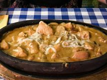Chicken Casserole with Almonds, Cream and Melted Cheese stock photos