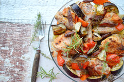 Chicken casserole with chorizo, eggplant and potatoes stock images