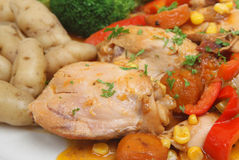 Chicken Casserole & New Potatoes royalty free stock images