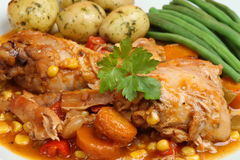 Chicken Casserole & Vegetables Royalty Free Stock Photography