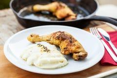 Chicken and cauliflower puree Stock Images