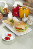 Chicken cheese burger Royalty Free Stock Photography