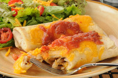 Chicken and cheese chimichangas Royalty Free Stock Photos