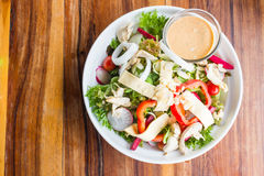 Chicken cheese salad with caesar dressing Royalty Free Stock Photos