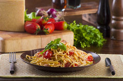 Chicken and cherry pasta Royalty Free Stock Image