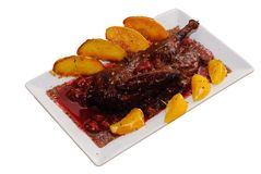Chicken with cherry sauce Royalty Free Stock Photography