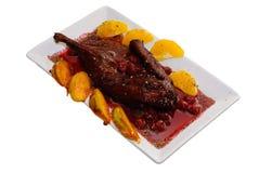 Chicken with cherry sauce Stock Photo