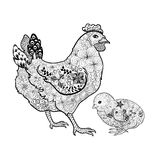 Chicken and chick doodle Stock Photography