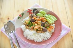 Chicken, chicken blood jelly and shrimp stir fry with rice. Thai food stock photos