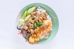 Chicken, chicken blood jelly and shrimp stir fry with rice. Thai food stock image