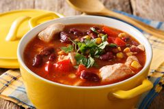 Chicken with chili, beans, corn and tomatoes close-up in a bowl. Chicken with chili, beans, corn and tomatoes close-up in a bowl on the table. horizontal Royalty Free Stock Image