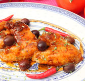 Chicken with chili sauce Royalty Free Stock Photo
