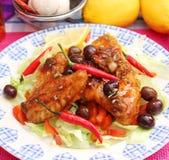 Chicken with chili sauce Stock Photo