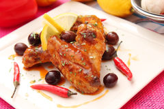 Chicken with chili sauce Royalty Free Stock Image