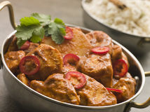 Chicken Chili Tikka Masala with Fragrant Basmati R Royalty Free Stock Image