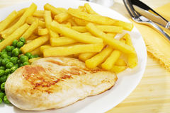 Chicken and Chips Dinner Stock Image