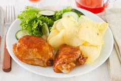 Chicken with chips Stock Photo