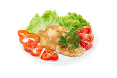 Chicken chop in light batter with vegetables Royalty Free Stock Image