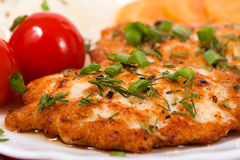 Chicken chopped meat cutlet with salty vegetables and greens. Chopped chicken meat cutlet with salty tomatoes and greens Stock Images