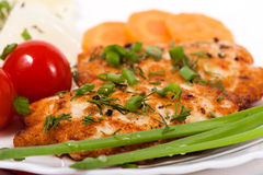 Chicken chopped meat cutlet with vegetables and greens. Chopped chicken meat cutlet with salty tomatoes Stock Photo