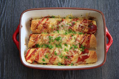 Chicken & Chorizo Enchiladas Royalty Free Stock Photography