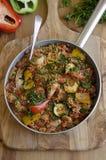 Chicken and chorizo jambalaya. Freshly made chicken and chorizo jambalaya in a pan stock photo