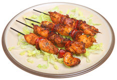 Chicken & Chorizo Kebabs Royalty Free Stock Photography