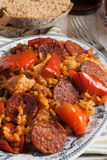 Chicken and Chorizo Paella Stock Images