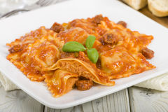 Chicken and Chorizo Ravioli Royalty Free Stock Photo