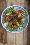 Chicken and Chorizo skewers Stock Photos