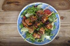 Chicken and Chorizo skewers Stock Photography